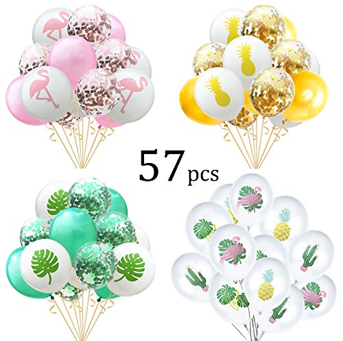 57 Pcs Hawaii Party Balloon Flamingo Tropical Leaf Pineapple Balloons Colorful Balloon with Confetti for Hawaii Luau Beach Party Decorations by MarJunSep