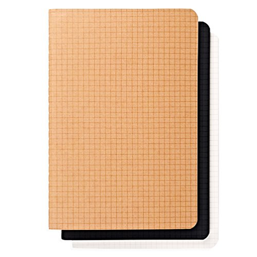 A5 Grid Notebook/Journal - Softcover, Graph Paper, 5.5 x 8.25 in, 40 Sheets/80 Pages, Set of 3 - Paper Square Note Pad