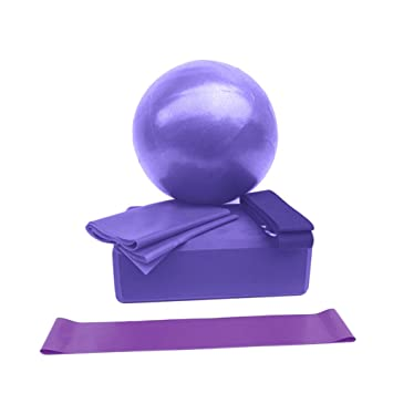 Prom-near Set de Yoga de 5 Piezas Pilates Ball para Yoga Pilates Barre Fisioterapia Estiramiento y Core Fitness