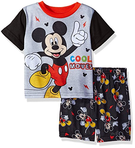Disney Little Boys' Mickey 2-Piece Pajama Set, Black, (Mickey Mouse Pajamas)