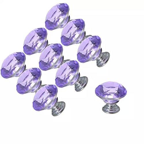 CSKB 10 PCS Purple 30mm Crystal Glass Diamond Cut Door Knob Drawer Cabinet Furniture Kitchen Wardrobe Dresser Pull Handle