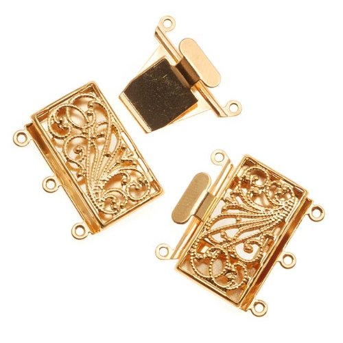 Box Large Clasp (Beadaholique Filigree Box Clasp, 3 Strand Rectangle 23mm, 2 Clasps, Gold Tone)