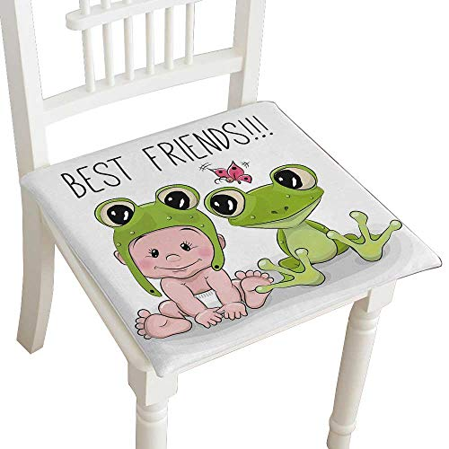Indoor/Outdoor All Weather Chair Pads Cute Coon Baby in a Froggy hat and Frog Seat Cushions Garden Patio Home Chair Cushions 28