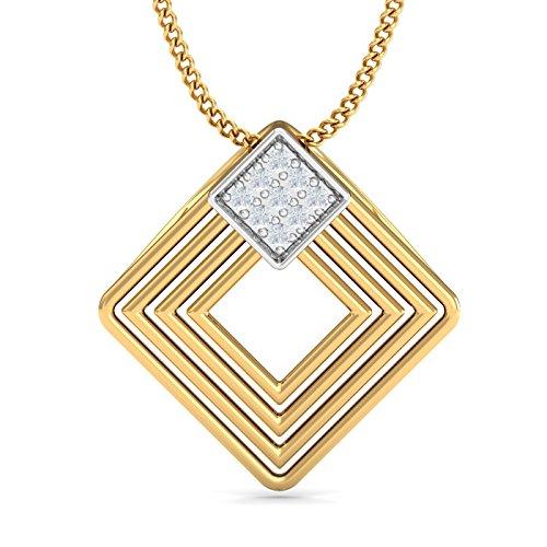 Kuberbox Yellow Gold and Diamond Modern Designer Pendant