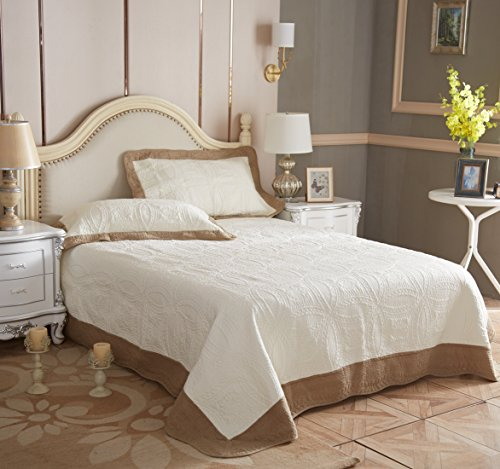 Desilife Home 100% Natural Washed Cotton Quilt Sets Ivory King Size 3 Pcs Coverlet Bedspread Bed Cover with Pillow Shams Brown Flange Breathable Lightweight Fade Resistant Quilted Summer Comforter by Desilife Home