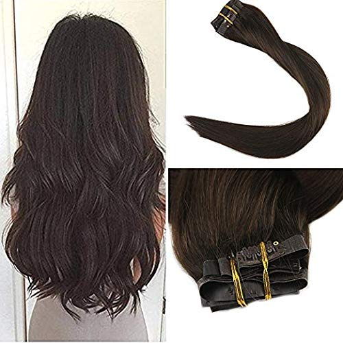 Full Shine 8Pcs 22Inch 120Gram Dark Brown Color #2 PU Clip in Skin Weft Hair Extensions Remy Best Seamless Clip in Hair Extensions Clip on Straight Clip in Extensions by Full Shine