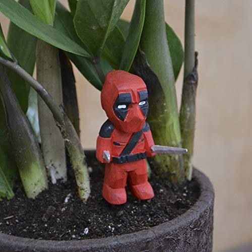 Deadpool Mini Wood Figure on Metallic Stake for Mini Fairy Garden Handmade Craft Idea for Home Marvel Comics Style Tiny Landscape Decoration Cute Miniature Art Wood Indoor Accessories]()