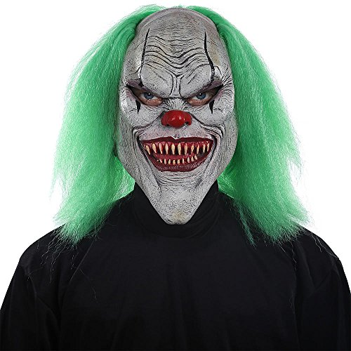 Halloween Mask. Best Costume, Dress, Outfit Supplies, Accessories For Scary, Cool, Creepy, Unusual, Spooky, Fun Party. For Children, Kids, Teens, Adults, Couples, Boys, Girls (Evil Clown) ()
