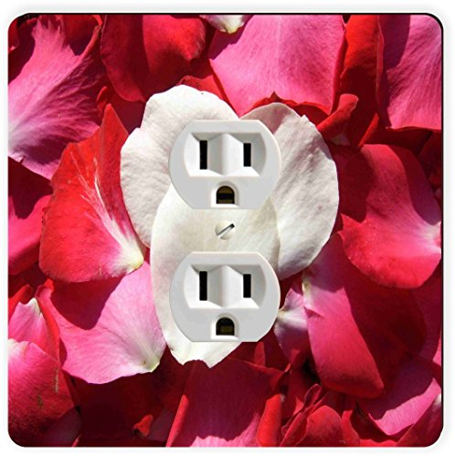 - Rikki Knight Red and White Rose Petals Single Outlet Plate