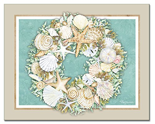 Counter Art Coastal Wreath Glass Cutting Board, 15