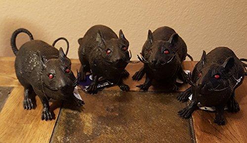 - Spooky Halloween Black Squeezable Plastic Squeaking Rats 9