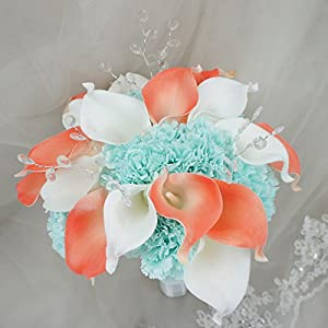 Lily Garden Real Touch Calla Lily Coral and White and Carnation Turquoise Flowers Wedding Bouquet (24 Stems Bouquet) 2