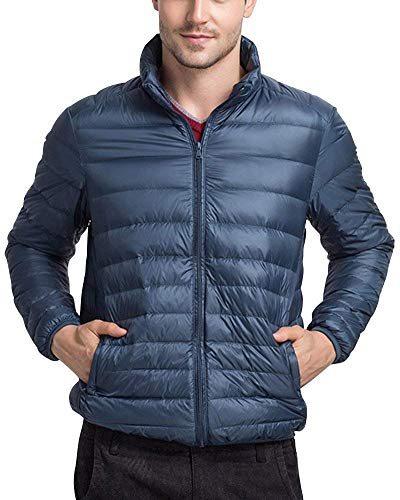 Battercake Men's Down Jacket Jacket Jacket Quilted Winter Padded Jacket Jacket with Stand Collar Comfortable Outerwear Jacket Coat Seeblau