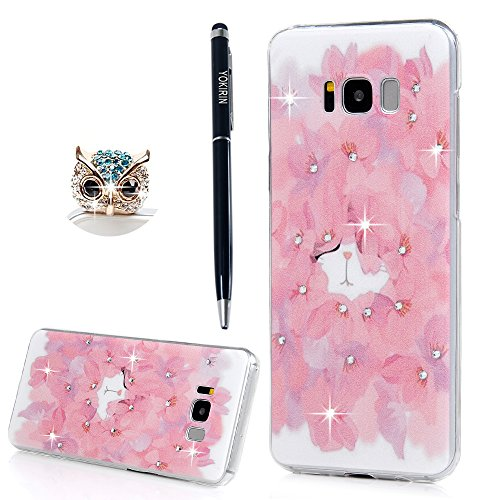 YOKIRIN Galaxy S8 Plus Case, 33D Handmade Bling Crystal Shiny Rhinestone Diamonds Special Hollow Floral Gradient Pattern Clear Case Hard PC Untra Thin…