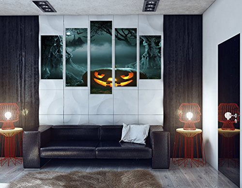 NAN Wind Glowing Pumpkin in Dark Scary Forest Church Halloween Paintings for Wall Art Painting Modern Canvas Wall Paintings Home Decoration Canvas Prints Paintings Framed and Stretched,Ready to -
