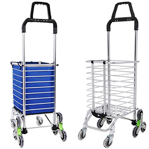 Utheing Folding Aluminum Stair Climbing Shopping Cart with Swivel Wheel Bearings and Waterproof Oxford Cloth Bag, Capacity of 177 pounds (Type2) by Utheing (Image #3)