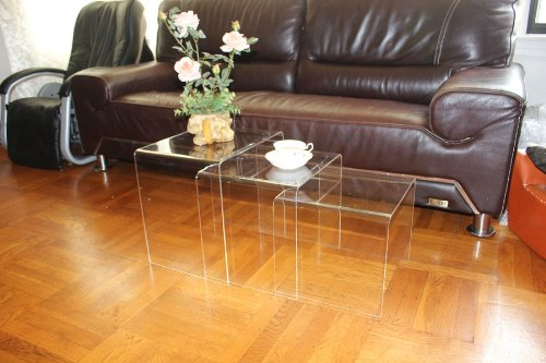 Amazon.com: DisplayGifts AC TB1 Clear Acrylic Nesting Table Coffee End Table  3pc Lucite Side Table Set: Kitchen U0026 Dining