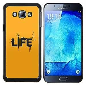 Tipografía Vida- Metal de aluminio y de plástico duro Caja del teléfono - Negro - Samsung Galaxy A8 / SM-A800
