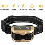 Nemobub No Bark Collar Rechargeable Humane Smart Detection Anti-Bark Collar With Beep/Vibration/Safe Shock/ Sensitivity Control Waterproof Bark Training Collar for Small, Medium, Large Dogs (Gold)