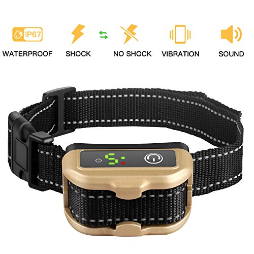 Nemobub No Bark Collar Rechargeable Humane Smart Detection Anti-Bark Collar With Beep/Vibration/Safe Shock/ Sensitivity Control Waterproof Bark Training Collar for Small, Medium, Large Dogs (Gold) by Nemobub