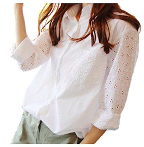 うれしいくぼみ代替案[オジェニ] ブラウス 長袖 花柄 レース ホワイト 透け感 刺繍
