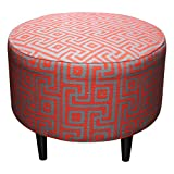 Sole Designs Sophia Collection Round Upholstered Ottoman with Espresso Leg Finish, Atomic Red