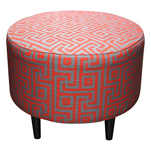 Sole Designs Sophia Collection Round Upholstered Ottoman with Espresso Leg Finish, Atomic Red by Sole Designs