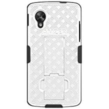 Amzer Shellster Shell Case Holster Combo Cover with Kickstand for Google Nexus 5 D820, LG Nexus 5 D820-Retail Packaging-Black/White