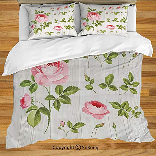 SoSung Floral Bed Pillow Case/Shams Set of 2,Vintage Rose Petals Over Wooden Board Background Wedding Romance Artsy Design Queen Size Without Insert (2 Pack Pillowcase 20