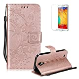 Funyye Strap Leather Cover for Samsung Galaxy S4,Rose Gold Creative Pattern Design Magnetic Flip Folio Soft Silicone PU Leather Protective Case for Samsung Galaxy S4,Stylish Multi functional Folder Wallet with Stand Credit Card Holder Slots Cover for Samsung Galaxy S4 + 1 x Free Screen Protector