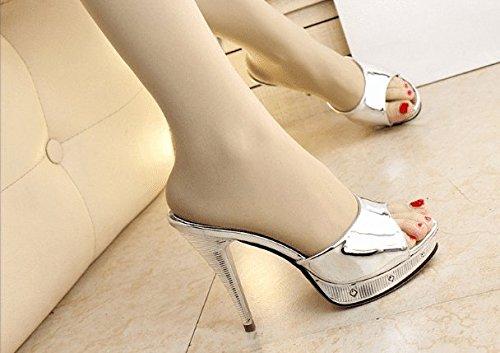 AWXJX Sommersaison Frauen Frauen Frauen Flip Flops Fein mit High Heel Wasserdicht Silber 5.5 US 35.5 EU 3 UK 1dde1b