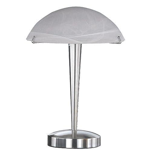 TRIO, Lampe de table, Henk 1xE14, max.60,0 W Verre mat, Blanc balayé, Corps: metal, Nickel mat Ø:26,0cm, H:38,0cm IP20,Interrupteur tactile 4 niveaux