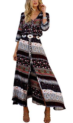 COMVIP - Vestido - camisa - Floral - Manga corta - para mujer marrón
