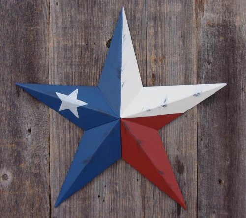 AMISH WARES 53 Inch Heavy Duty Metal Barn Star Rustic Painted Texas Flag. ()