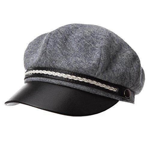Womens Newsboy Cap Wool Winter Sailor Fiddler Fisherman Hat Gray Grey Visor Beret Ladies Satin Lined