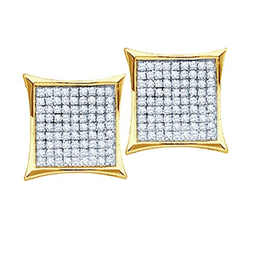 10kt Yellow Gold Womens Round Natural Diamond Square Cluster Fashion Earrings 1/7 Cttw - Diamond Square Cluster Ring
