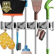 Holikme Mop Broom Holder Wall Mount Metal Pantry Organization and Storage Garden Kitchen Tool Organizer Wall H