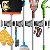 Holikme Mop Broom Holder Wall Mount Metal Pantry Organization and Storage Garden Kitchen Tool Organizer Wall Hanger for Home Goods (4 Positions with 4 Hooks, Silver)