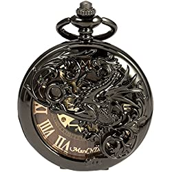 Mens Skeleton Mechanical Pocket Watch - Black Dragon Hollow Double Hunter ManChDa Burlywood Dial