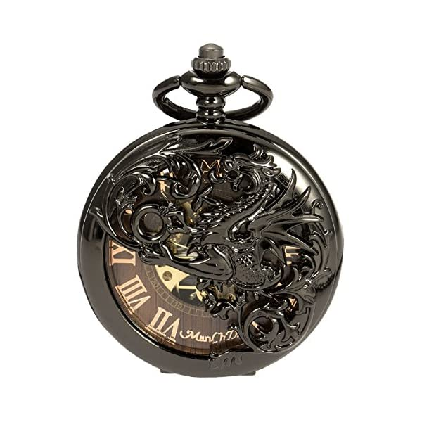 ManChDa Mens Antique Skeleton Mechanical Pocket Watch with Chain- Dragon Hollow Hunter 3