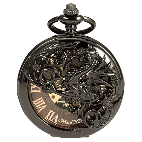 - Mens Skeleton Mechanical Pocket Watch - Black Dragon Hollow Double Hunter ManChDa Burlywood Dial