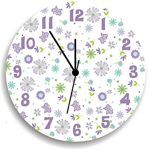 Butterfly WALL CLOCK- Purple Nursery Wall Art for Girls Bedroom-butterffly Girls Nursery Wall Hanging