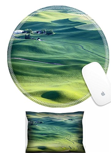 Luxlady Mouse Wrist Rest and Round Mouse Wrist Set IMAGE: 41763182 A streambed flows around the wheat fields and hills of the farmland in the Palouse area of Eastern Washington and leads to a farm hou