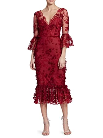 93214830 Marchesa Notte Women's 3/4 Sleeve Embroidered Midi_Tea Dress 6 Red at  Amazon Women's Clothing store: