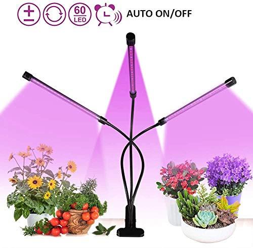 Grow Light Pflanzenlicht 18W Timing-Funktion Dual 3 Modi Timer 3H / 9H / 12H Dimmbar 5 Stufen mit 360 ° flexibler Schwanenhals-LED-Pflanzenwachstumslampe