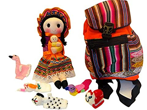 Peruvian Doll, Back Pack and Five Finger Puppets Combo Pack Set Sanyork Fair Trade (TM) Artisan Made - Peruvian Carved Gourds