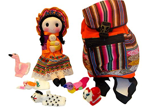 Peruvian Doll, Back Pack and Five Finger Puppets Combo Pack Set Sanyork Fair Trade (TM) Artisan Made Peru