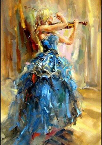 Osm Art Created Art Handmade Flamenco Blue Skirt Dancer For Wall Decor Violin Pure Hand-painted Spanish Dancers Oil Painting On Canvas