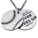 N.egret Hall of Fame Baseball Pendant Necklace Chain Sports Jewelry Inspirational Quote Baseball Gift teens Daughter Son