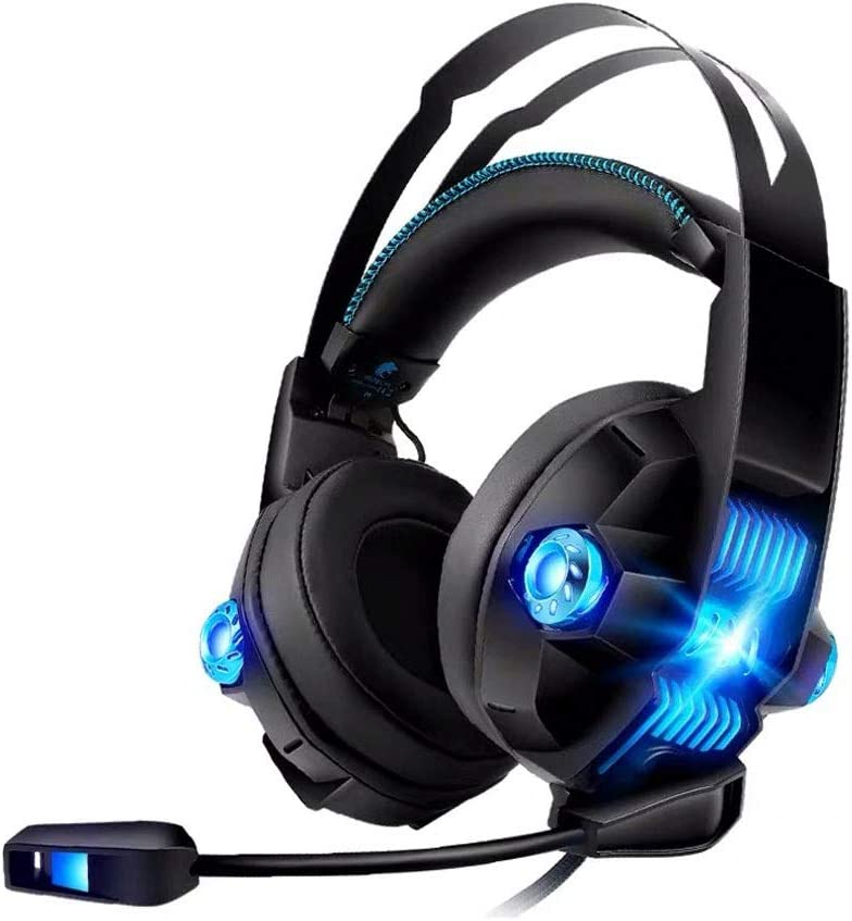 LEFJDNGB Gaming Headset Sound Stereo Gaming Headphones with Breathing RGB Light and Adjustable Mic for Double Hole Equipment Pc Headset
